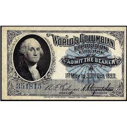 1893 World's Columbian Exposition Ticket Columbus