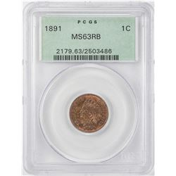 1891 Indian Head Cent Coin PCGS MS63RB Old Green Holder