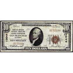 1929 $10 BofA San Francisco, CA CH# 13044 National Currency Note