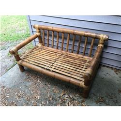 "Rattan Solid Deck Settee 27.5""H 56""W 33""D"