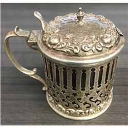 Antique Sterling Silver Repousse Cranberry Glass Condiment Mustard Pot Jam Jar