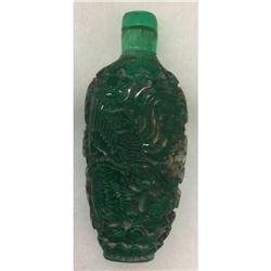 Asian Green Dragon Glass Snuff Bottle
