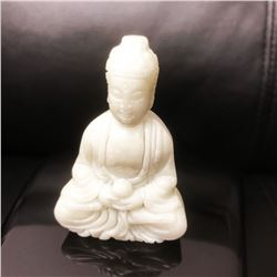 Asian Hand Carved White Jade Resting Buddha Figure