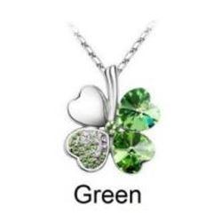 Austrian Crystal with Swarovski Elements - Clover hearts-Green
