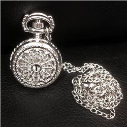 Elegant Silver Tone Watch Pendant Necklace