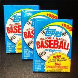 3 Vintage Topps 1989 Unopened Baseball Card Packs