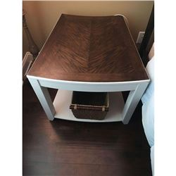"Pair of mirrored oak designer end tables (2) 23""H 26x26"