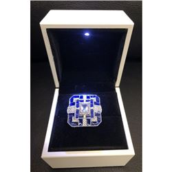 Exquisite Ladies Silver 925 Blue Tanzanite Ring With LED Ring Box