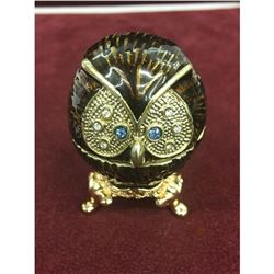 Royal Designed Enameled Semi Precious Stone Owl Trinket / Ring Box On Stand