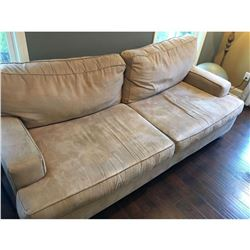"Large suede living room couch 7'1""W x 3'2""D x 3'1""H"