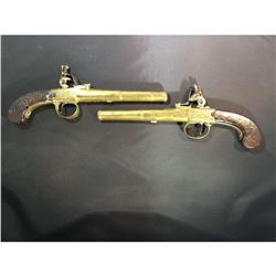 C. 1770 London Pair of Brass Framed Flintlock Boxlock Dueling Pistols with Cannon Style Barrels