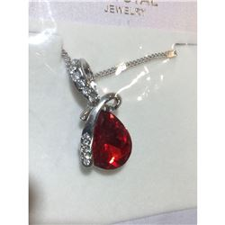 Austrian Crystal with Swarovski Elements - Tear drop shaped gem w/ribbon of clear gems above-Red