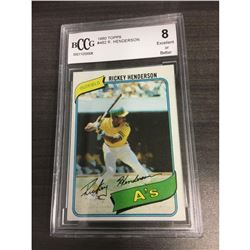 1980 Rickey Henderson Topps BCCG Graded 8 Rookie Card