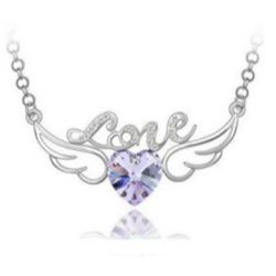 Austrian Crystal with Swarovski Elements - Angel wings & Love/Heart-Violet