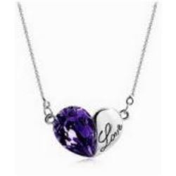 Austrian Crystal with Swarovski Elements - Heart w/ Love engraved-Purple