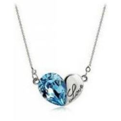 Austrian Crystal with Swarovski Elements - Heart w/ Love engraved-Blue