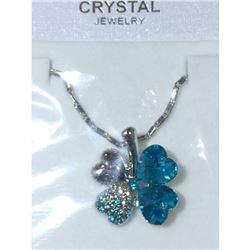 Austrian Crystal with Swarovski Elements - Clover hearts-Bright blue