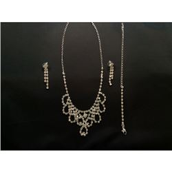 Czech Crystal Rhinestone Bridal Necklace Set