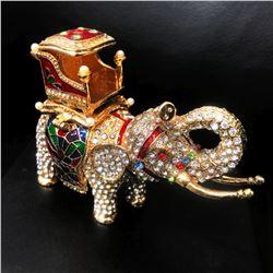 Faberge Elephant Trinket & Jewelry Box Made Crystal Bejeweled Figurine Ring Box