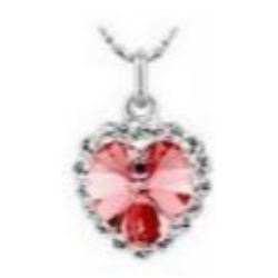 Austrian Crystal with Swarovski Elements - Pink heart necklace