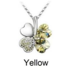 Austrian Crystal with Swarovski Elements - Clover hearts-Yellow