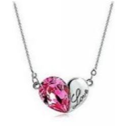 Austrian Crystal with Swarovski Elements - Heart w/ Love engraved-Magenta