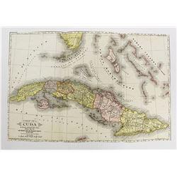 AMAZING COLORED MAP OF CUBA CIRCA 1897