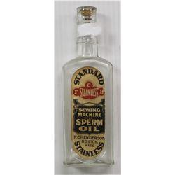 CIRCA 1850'S WHALE SPERM OIL BOTTLE