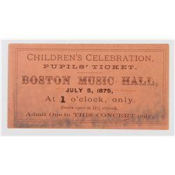 VERY RARE BOSTON MUSIC HALL TICKET