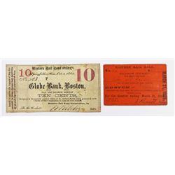 TWO  1860'S RAILROAD SCRIP BOSTON