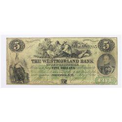 MONCTON  NB RARE WESTMORELAND BANK $5