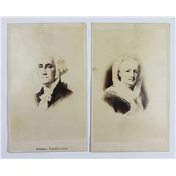 CARTE DE VISITE GEORGE AND MARTHA WASHINGTON