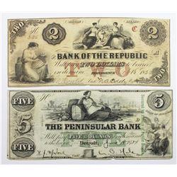 (2) OBSOLETE PENNINSULAR BANK, DETROIT