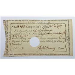 1791 CONNECTICUT TREASURY WARRANT