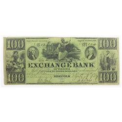 1857 $100 EXCHANGE BANK