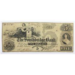 1858 $5 SOUTHBRIDGE BANK