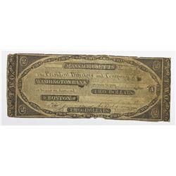 1840 $2 WASHINGTON BANK, BOSTON