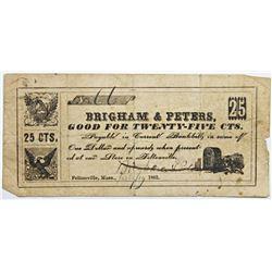 1862 TWENTY FIVE CENT FRACTIONAL SCRIP