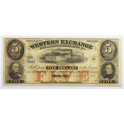 1857 $5 WESTERN EXCHANGE