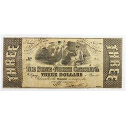1862 $3 STATE OF NORTH CAROLINA