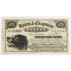1862 HARRIS & CHAPMAN TWENTY FIVE CENT