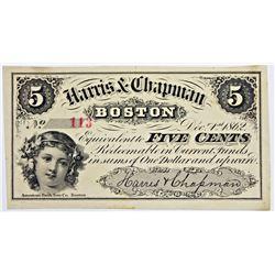 1862 BOSTON FIVE CENT SCRIP