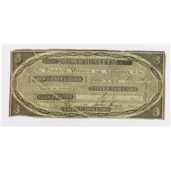 VERY RARE GLOUCESTER BANK $3 1815 MASS.