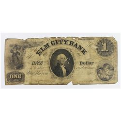 RARE UNLISTED ELM CITY BANK $1 CT 1850'S
