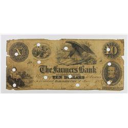 VERY RARE CAROLINA FARMERS BANK 1853 $10