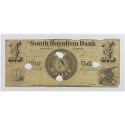 VERMONT SOUTH ROALTON BANK $1 1850'S