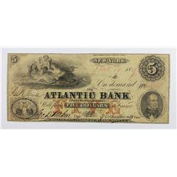 ATLANTIC BANK NEW YORK $5 1859