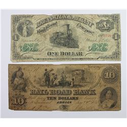 2 RAILROAD OBSOLETE NOTES 1854-71