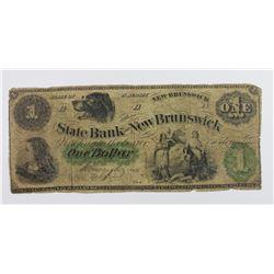 STATE BANK OF NEW BRUNSWICK NJ 1860'S $2