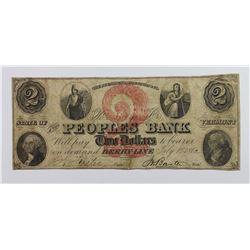 1860'S $2 PEOPLS BANK DERBY LINE VT